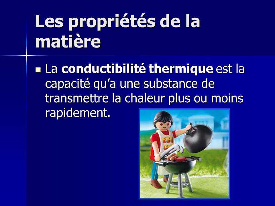 Les propriétés de la matière La conductibilité thermique est la capacité qua une substance de transmettre la chaleur plus ou moins rapidement. La cond