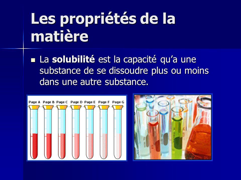 Les propriétés de la matière La solubilité est la capacité qua une substance de se dissoudre plus ou moins dans une autre substance. La solubilité est