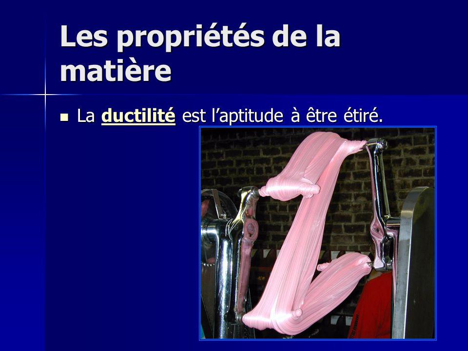 Les propriétés de la matière La ductilité est laptitude à être étiré. La ductilité est laptitude à être étiré.ductilité