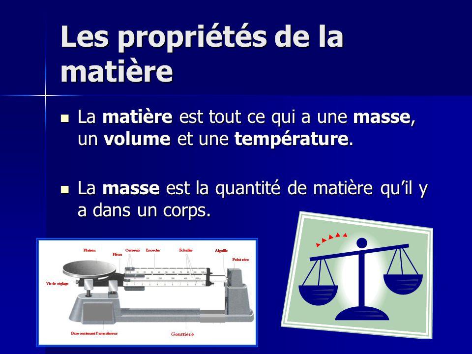 Les propriétés de la matière La matière est tout ce qui a une masse, un volume et une température. La matière est tout ce qui a une masse, un volume e