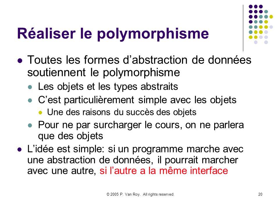 © 2005 P. Van Roy. All rights reserved.20 Réaliser le polymorphisme Toutes les formes dabstraction de données soutiennent le polymorphisme Les objets