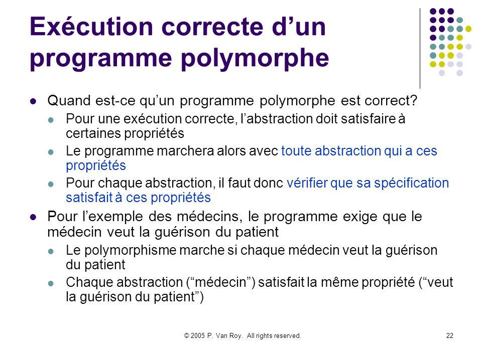 © 2005 P. Van Roy. All rights reserved.22 Exécution correcte dun programme polymorphe Quand est-ce quun programme polymorphe est correct? Pour une exé