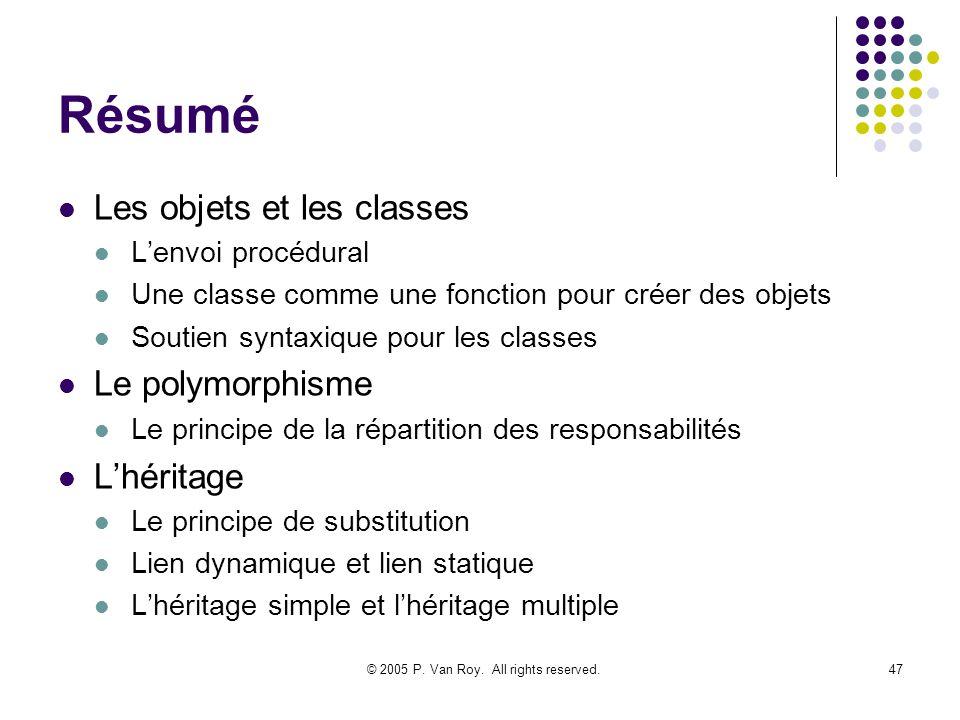 © 2005 P. Van Roy. All rights reserved.47 Résumé Les objets et les classes Lenvoi procédural Une classe comme une fonction pour créer des objets Souti