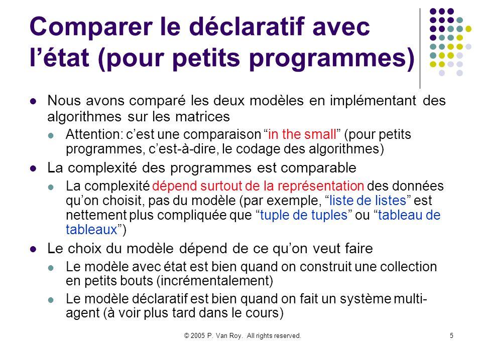 © 2005 P. Van Roy. All rights reserved.5 Comparer le déclaratif avec létat (pour petits programmes) Nous avons comparé les deux modèles en implémentan