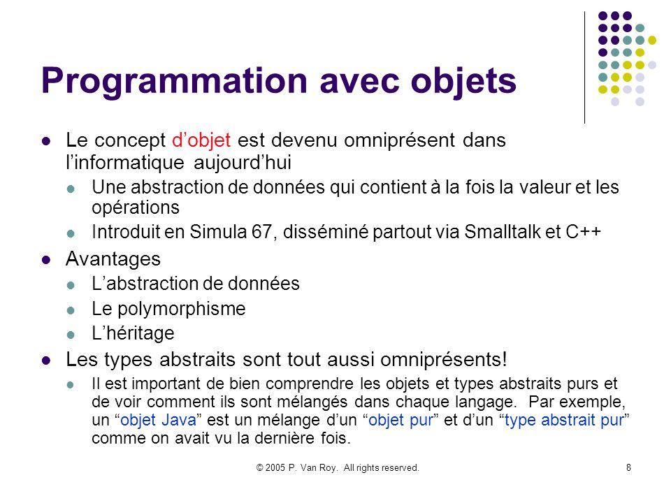 © 2005 P. Van Roy. All rights reserved.8 Programmation avec objets Le concept dobjet est devenu omniprésent dans linformatique aujourdhui Une abstract