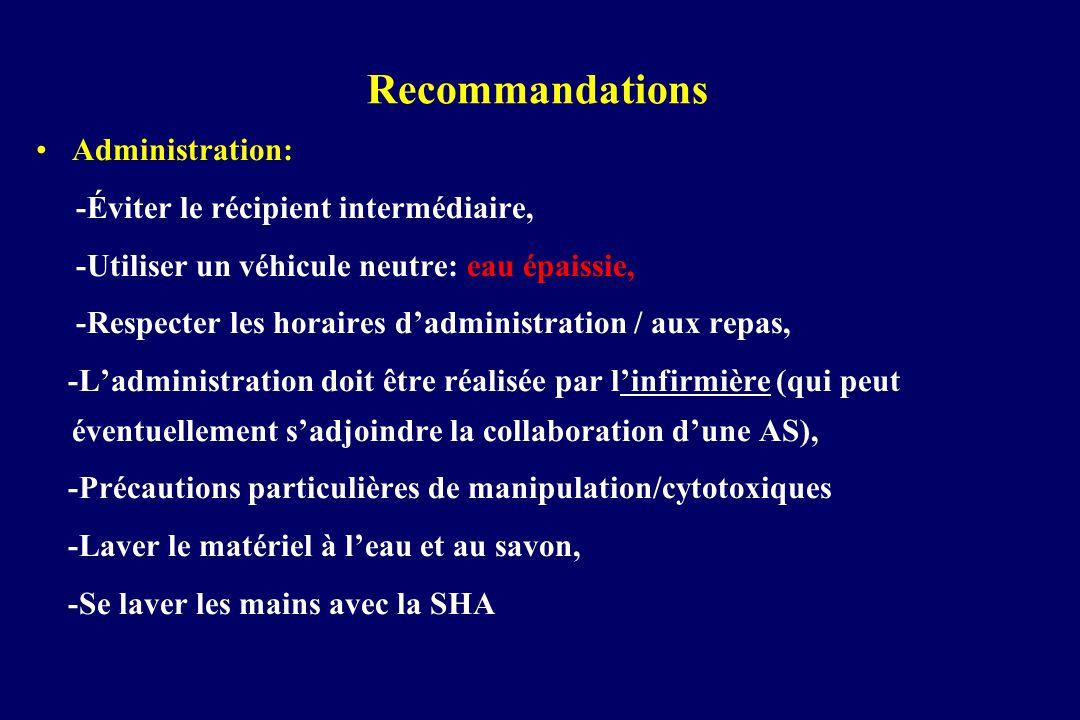Recommandations Administration: -Éviter le récipient intermédiaire, -Utiliser un véhicule neutre: eau épaissie, -Respecter les horaires dadministratio