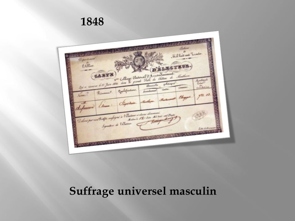 1848 Suffrage universel masculin