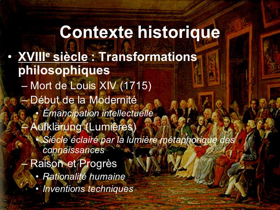 Contexte historique XVIII e siècle : Transformations philosophiques –Mort de Louis XIV (1715) –Début de la Modernité Émancipation intellectuelle –Aufk