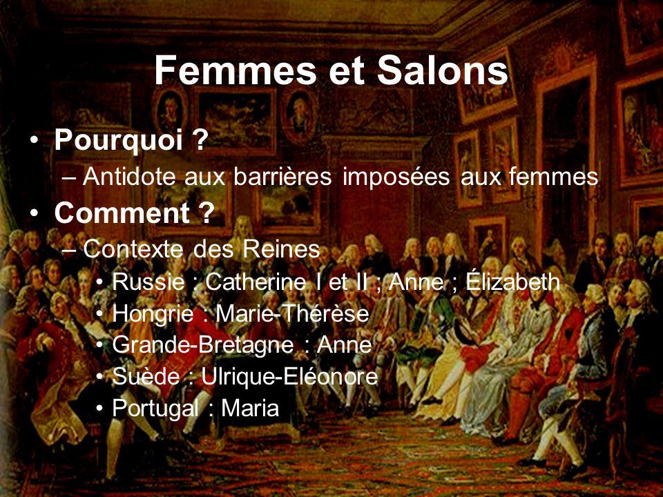Femmes et Salons Pourquoi ? –Antidote aux barrières imposées aux femmes Comment ? –Contexte des Reines Russie : Catherine I et II ; Anne ; Élizabeth H