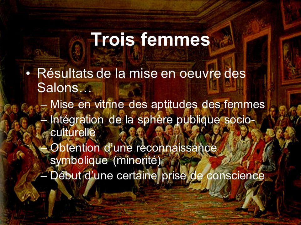 Trois femmes Résultats de la mise en oeuvre des Salons… –Mise en vitrine des aptitudes des femmes –Intégration de la sphère publique socio- culturelle