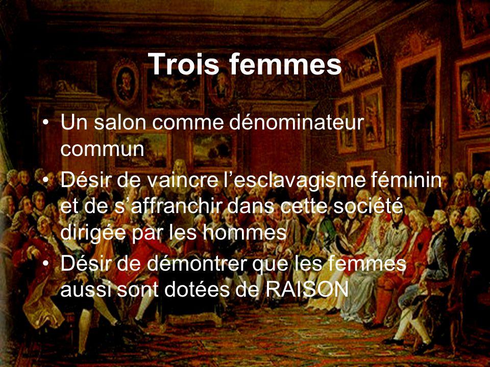 Trois femmes Un salon comme dénominateur commun Désir de vaincre lesclavagisme féminin et de saffranchir dans cette société dirigée par les hommes Dés