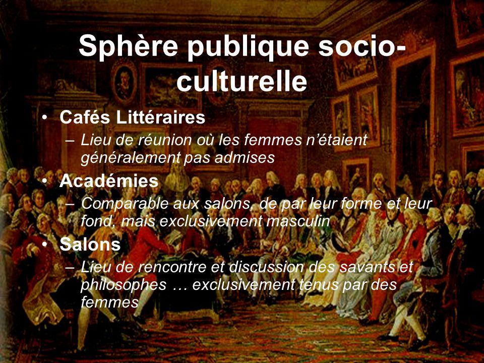 Sphère publique socio- culturelle Cafés Littéraires –Lieu de réunion où les femmes nétaient généralement pas admises Académies –Comparable aux salons,