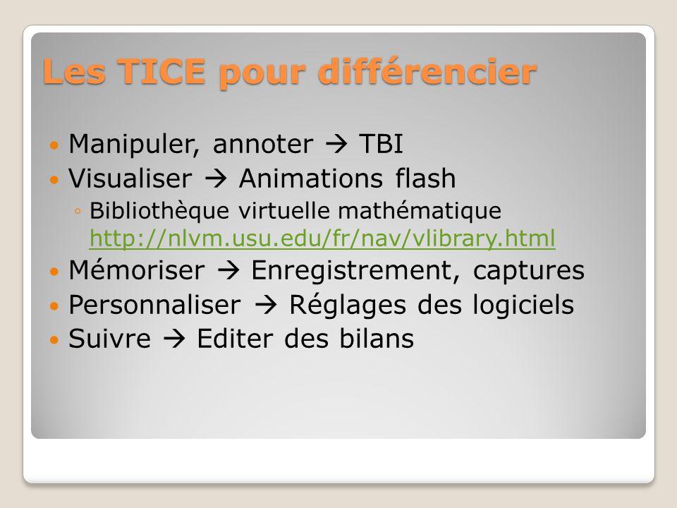 Les TICE pour différencier Manipuler, annoter TBI Visualiser Animations flash Bibliothèque virtuelle mathématique http://nlvm.usu.edu/fr/nav/vlibrary.