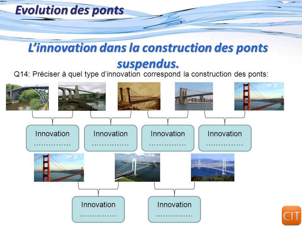 Page 12 Evolution des ponts Q14: Préciser à quel type dinnovation correspond la construction des ponts: Linnovation dans la construction des ponts sus