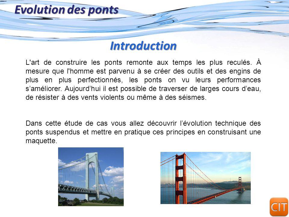 Page 2 Evolution des ponts L'art de construire les ponts remonte aux temps les plus reculés. À mesure que l'homme est parvenu à se créer des outils et