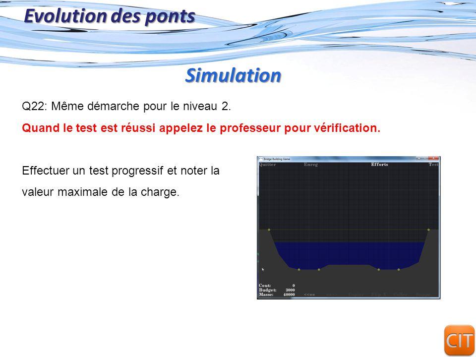 Page 21 Evolution des ponts Q22: Même démarche pour le niveau 2. Quand le test est réussi appelez le professeur pour vérification. Effectuer un test p