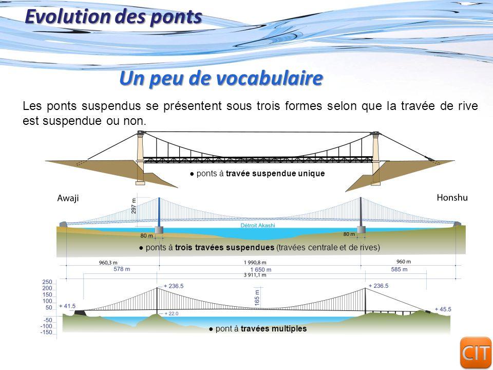 Page 7 Evolution des ponts Les ponts suspendus se présentent sous trois formes selon que la travée de rive est suspendue ou non. Un peu de vocabulaire