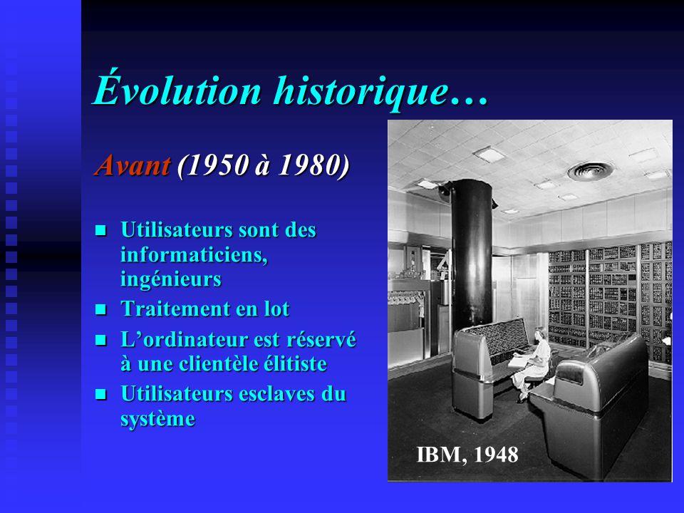 Évolution historique… Avant (1950 à 1980) Utilisateurs sont des informaticiens, ingénieurs Utilisateurs sont des informaticiens, ingénieurs Traitement