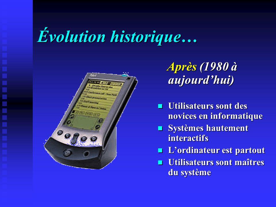 Évolution historique… Après (1980 à aujourdhui) Utilisateurs sont des novices en informatique Systèmes hautement interactifs Lordinateur est partout Utilisateurs sont maîtres du système