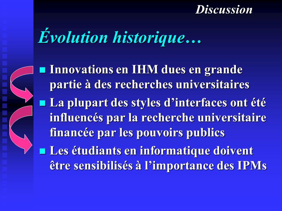 Évolution historique… Innovations en IHM dues en grande partie à des recherches universitaires Innovations en IHM dues en grande partie à des recherch