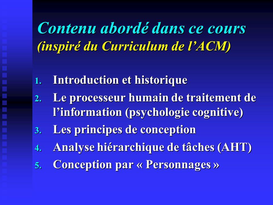 Contenu abordé dans ce cours (inspiré du Curriculum de lACM) 1. Introduction et historique 2. Le processeur humain de traitement de linformation (psyc