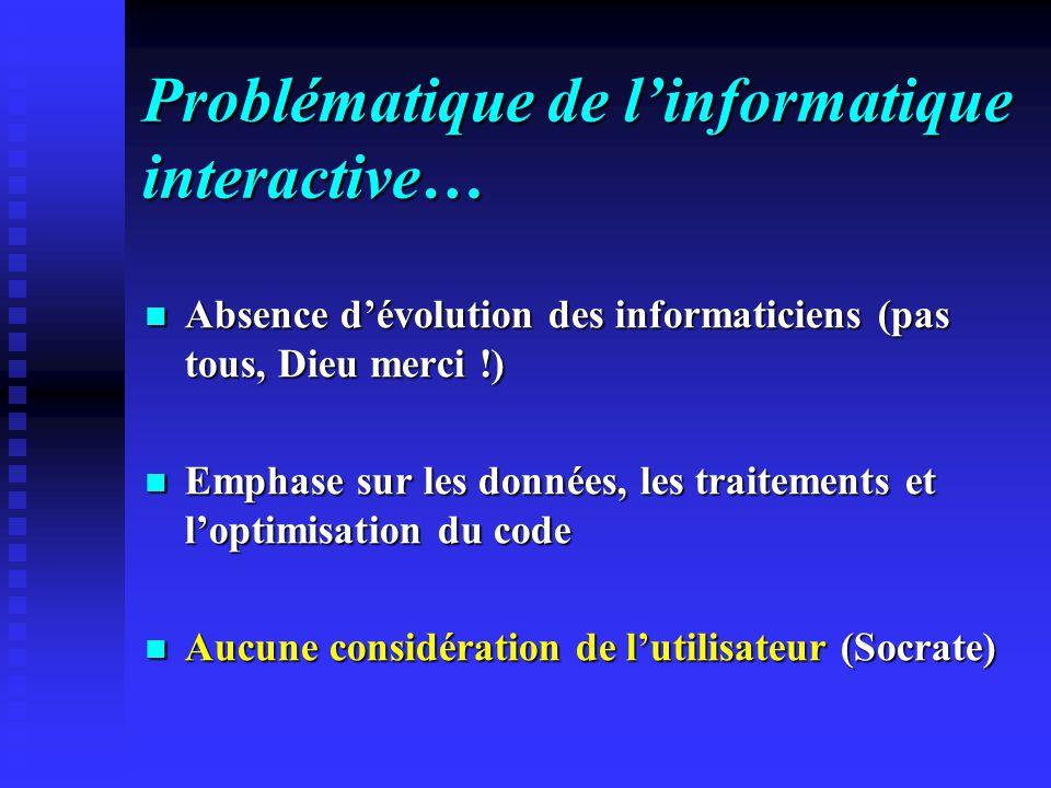 Problématique de linformatique interactive… Absence dévolution des informaticiens (pas tous, Dieu merci !) Absence dévolution des informaticiens (pas