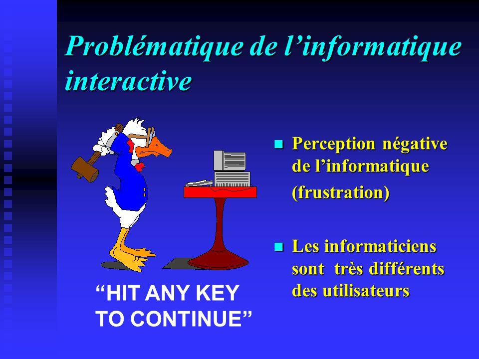 Problématique de linformatique interactive Perception négative de linformatique (frustration) Les informaticiens sont très différents des utilisateurs HIT ANY KEY TO CONTINUE