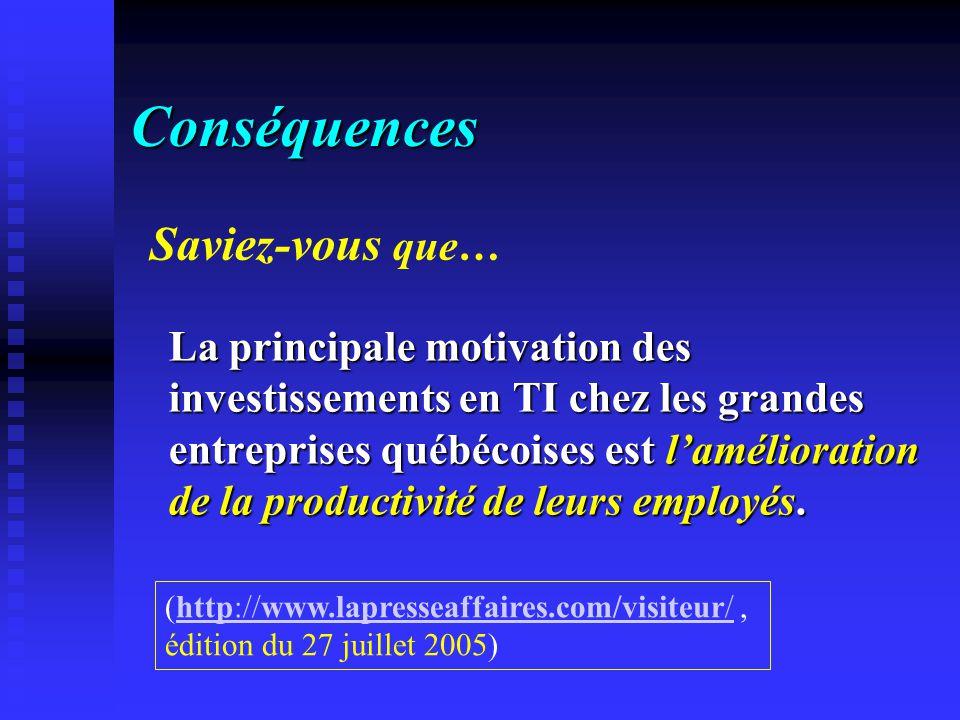 Conséquences La principale motivation des investissements en TI chez les grandes entreprises québécoises est lamélioration de la productivité de leurs employés.