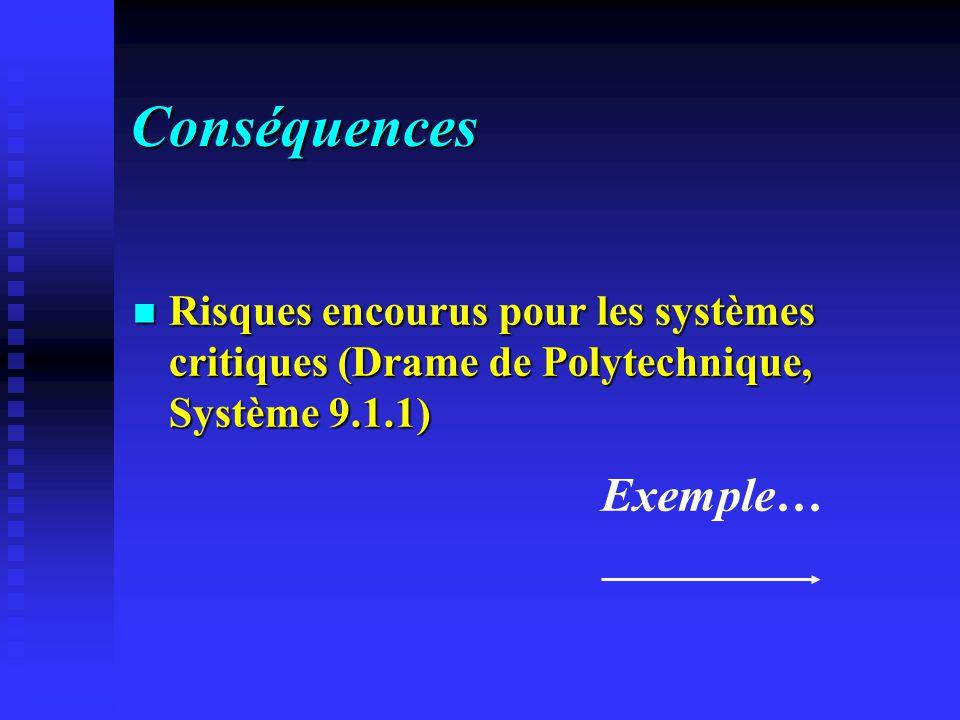Conséquences Risques encourus pour les systèmes critiques (Drame de Polytechnique, Système 9.1.1) Risques encourus pour les systèmes critiques (Drame de Polytechnique, Système 9.1.1) Exemple…