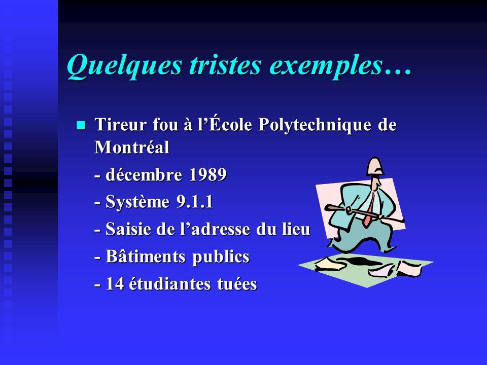 Quelques tristes exemples… Tireur fou à lÉcole Polytechnique de Montréal - décembre 1989 - Système 9.1.1 - Saisie de ladresse du lieu - Bâtiments publ