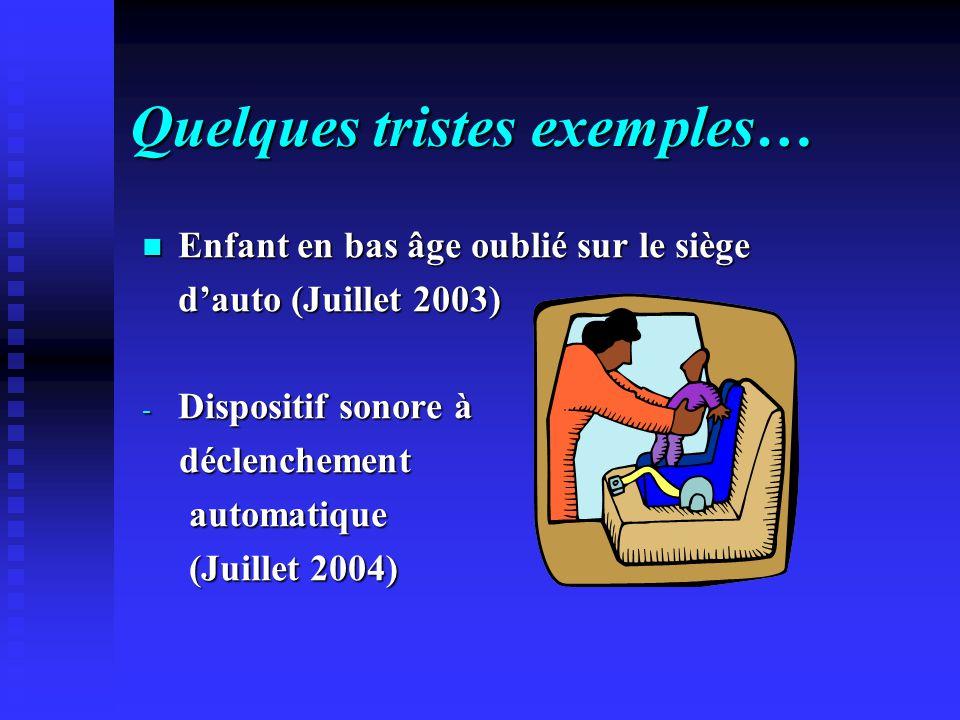 Quelques tristes exemples… Enfant en bas âge oublié sur le siège dauto (Juillet 2003) - Dispositif sonore à déclenchement automatique (Juillet 2004)