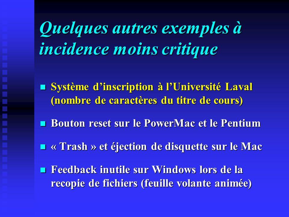 Quelques autres exemples à incidence moins critique Système dinscription à lUniversité Laval (nombre de caractères du titre de cours) Système dinscription à lUniversité Laval (nombre de caractères du titre de cours) Bouton reset sur le PowerMac et le Pentium Bouton reset sur le PowerMac et le Pentium « Trash » et éjection de disquette sur le Mac « Trash » et éjection de disquette sur le Mac Feedback inutile sur Windows lors de la recopie de fichiers (feuille volante animée) Feedback inutile sur Windows lors de la recopie de fichiers (feuille volante animée)