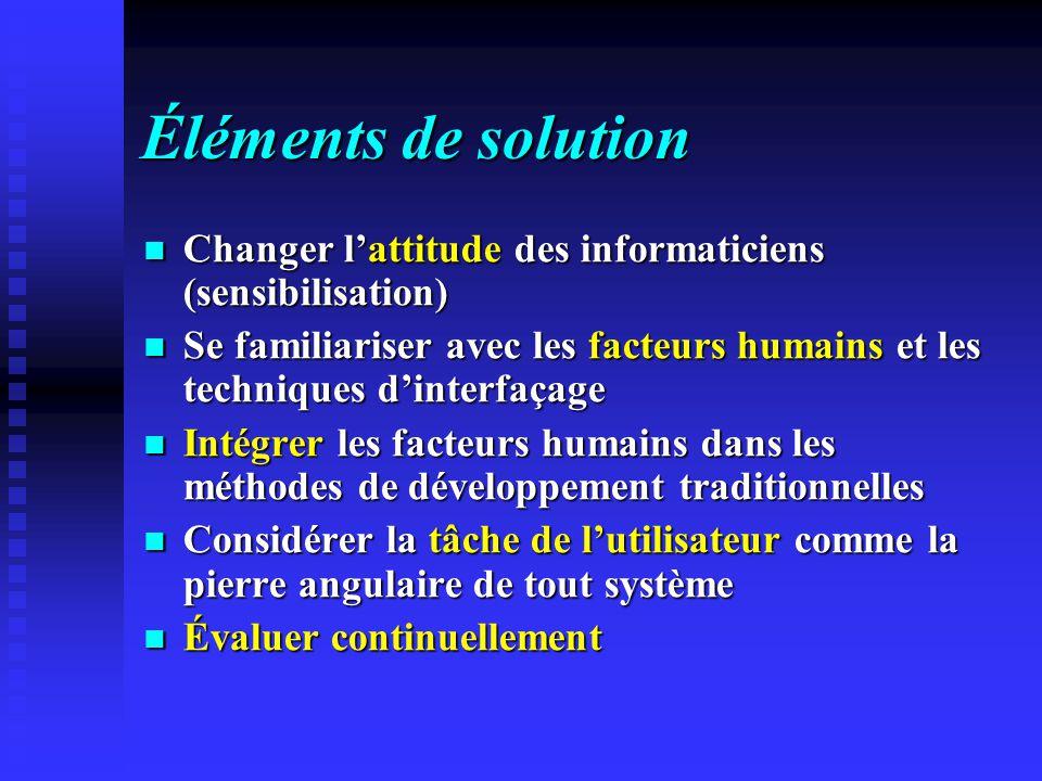 Éléments de solution Changer lattitude des informaticiens (sensibilisation) Changer lattitude des informaticiens (sensibilisation) Se familiariser ave