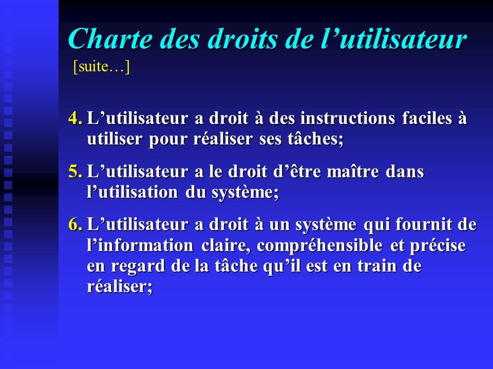 Charte des droits de lutilisateur 4.Lutilisateur a droit à des instructions faciles à utiliser pour réaliser ses tâches; 5.Lutilisateur a le droit dêt