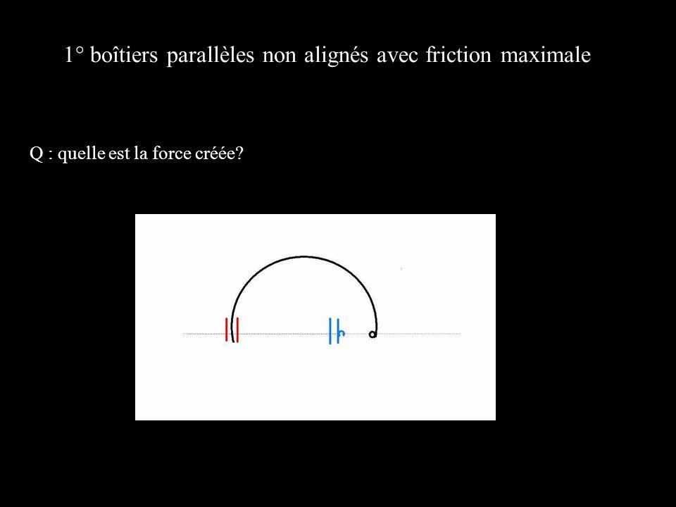 1° boîtiers parallèles non alignés avec friction maximale Q : quelle est la force créée?