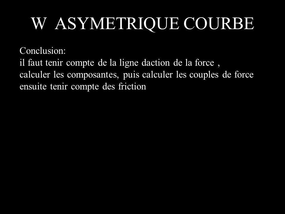 W ASYMETRIQUE COURBE Conclusion: il faut tenir compte de la ligne daction de la force, calculer les composantes, puis calculer les couples de force en