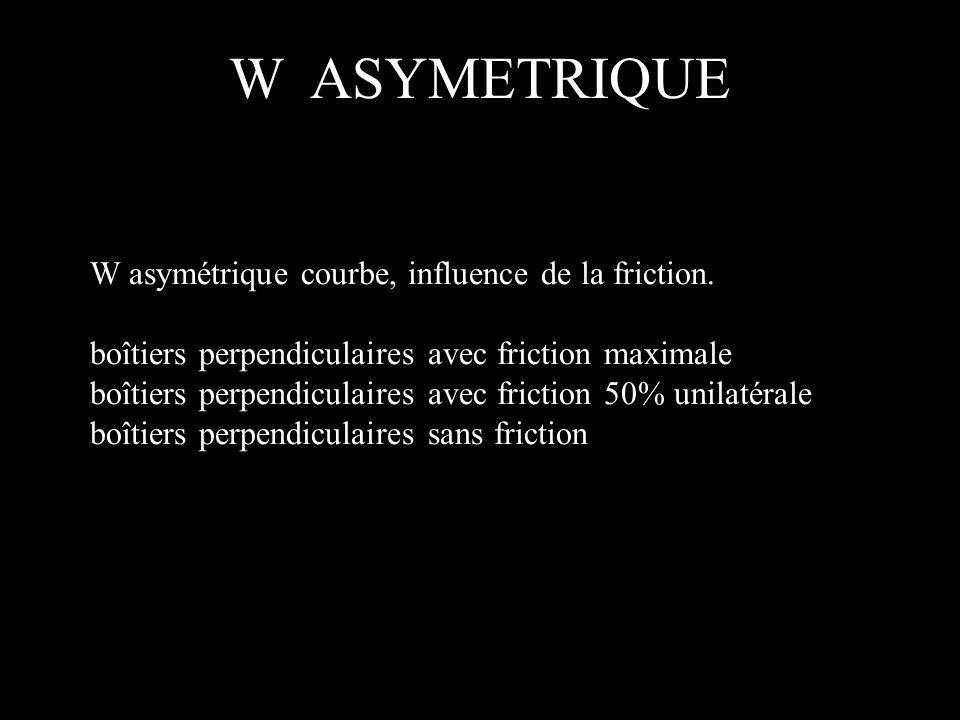 W asymétrique courbe, influence de la friction. boîtiers perpendiculaires avec friction maximale boîtiers perpendiculaires avec friction 50% unilatéra