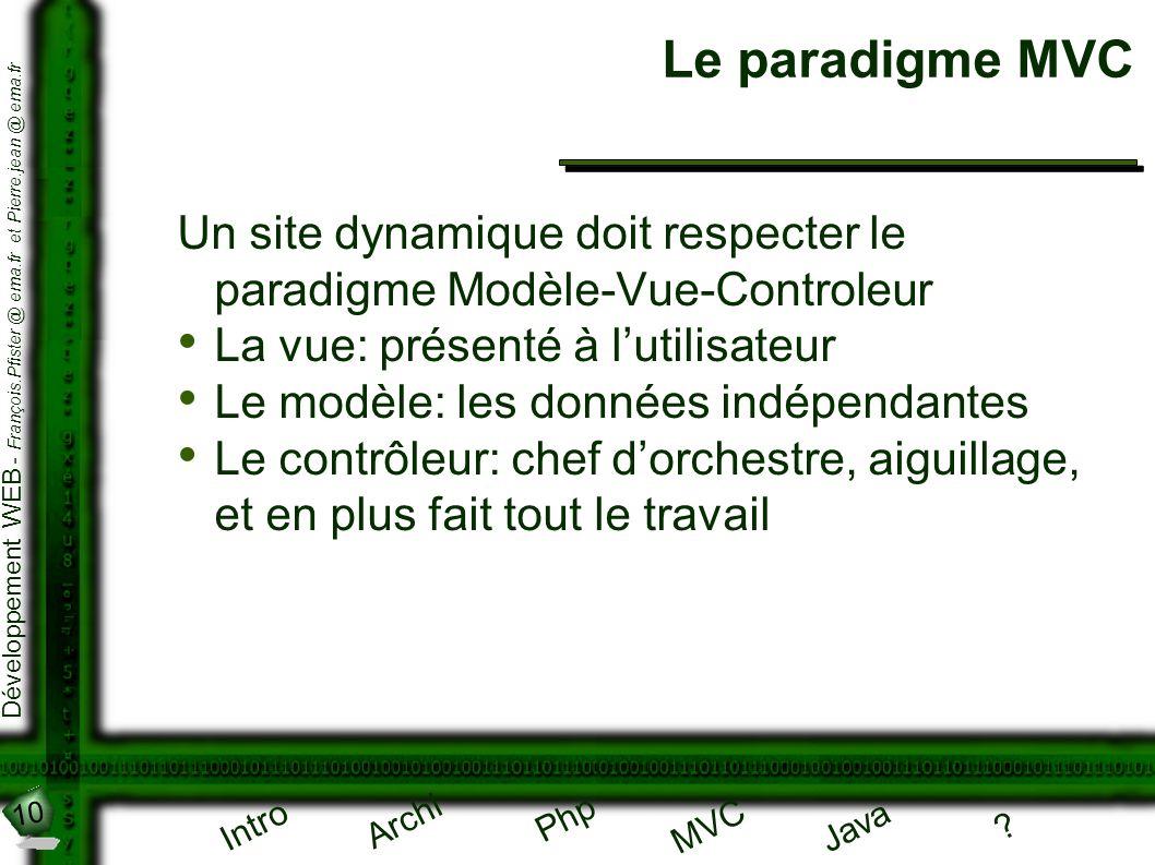 10 Développement WEB - François.Pfister @ ema.fr et Pierre.jean @ ema.fr Intro Archi Php Java ? MVC Le paradigme MVC Un site dynamique doit respecter