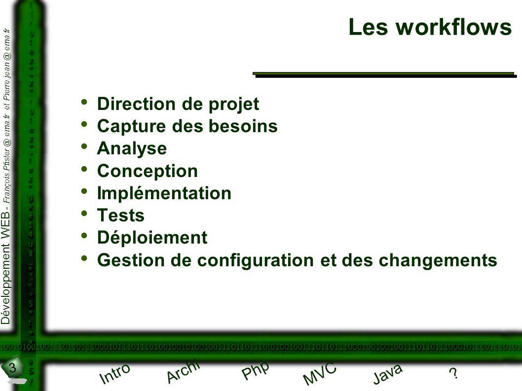 3 Développement WEB - François.Pfister @ ema.fr et Pierre.jean @ ema.fr Intro Archi Php Java ? MVC Les workflows Direction de projet Capture des besoi
