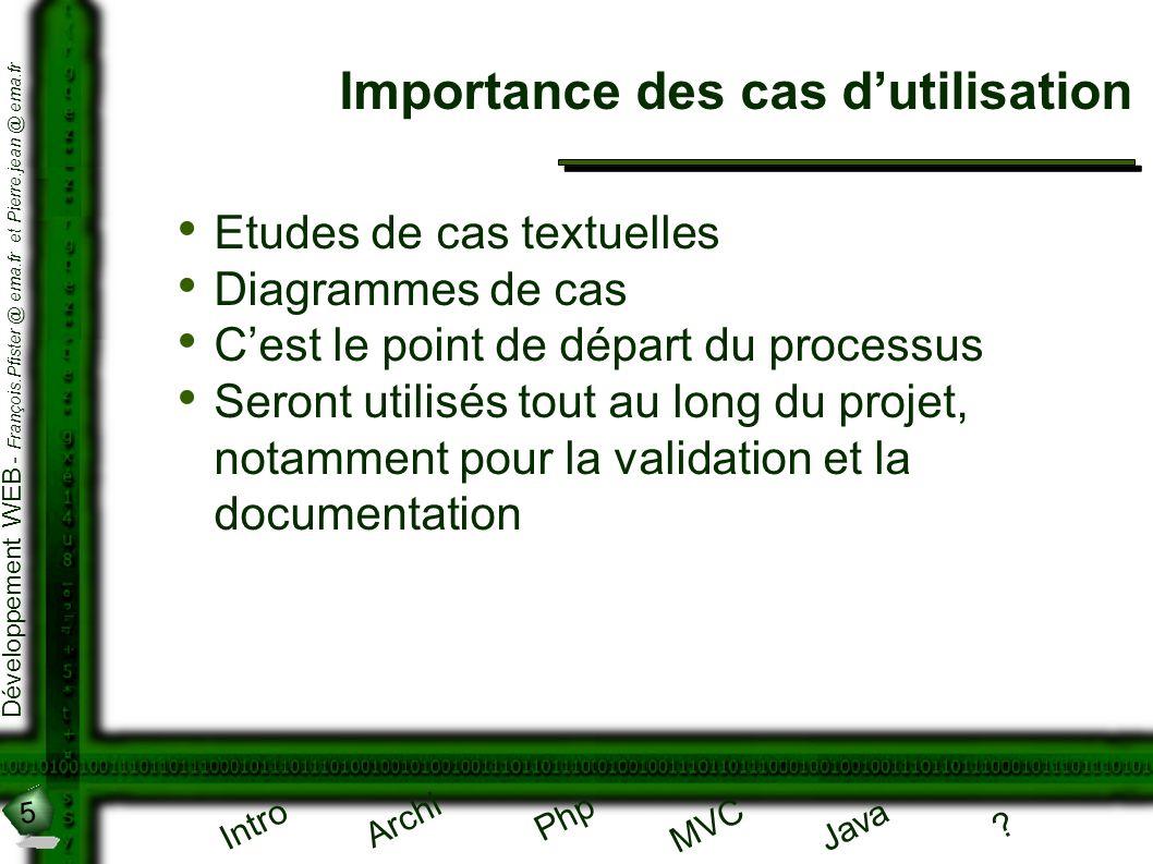 5 Développement WEB - François.Pfister @ ema.fr et Pierre.jean @ ema.fr Intro Archi Php Java ? MVC Importance des cas dutilisation Etudes de cas textu