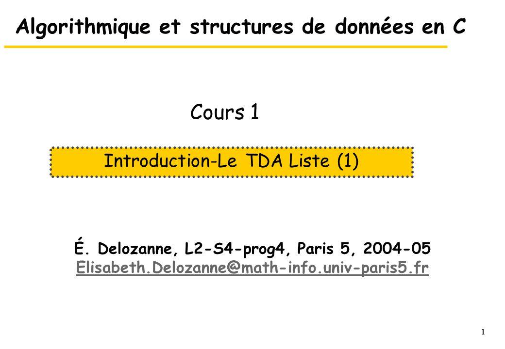 2 Intro et Le TDA LISTE (1) Cours n°1 1.Introduction 2.