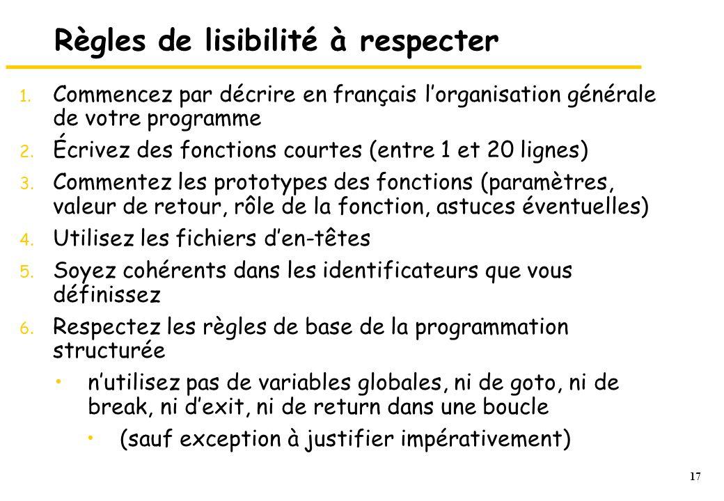 17 Règles de lisibilité à respecter 1.