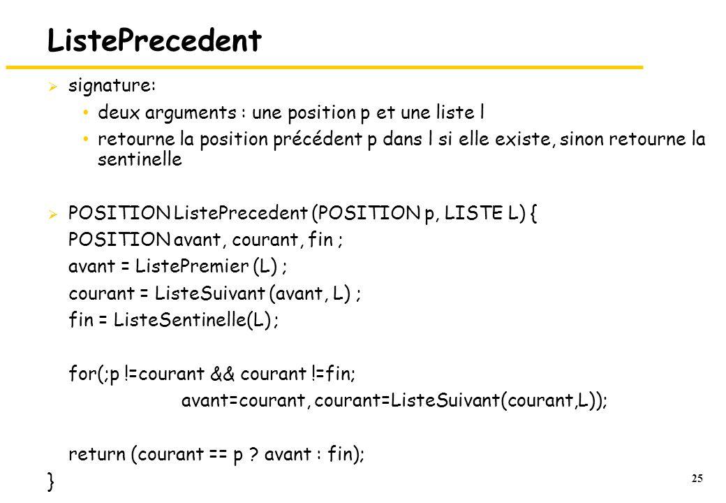25 ListePrecedent signature: deux arguments : une position p et une liste l retourne la position précédent p dans l si elle existe, sinon retourne la sentinelle POSITION ListePrecedent (POSITION p, LISTE L) { POSITION avant, courant, fin ; avant = ListePremier (L) ; courant = ListeSuivant (avant, L) ; fin = ListeSentinelle(L) ; for(;p !=courant && courant !=fin; avant=courant, courant=ListeSuivant(courant,L)); return (courant == p .