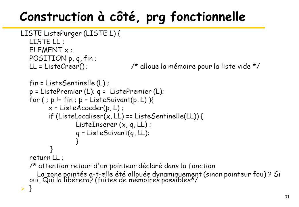 31 Construction à côté, prg fonctionnelle LISTE ListePurger (LISTE L) { LISTE LL ; ELEMENT x ; POSITION p, q, fin ; LL = ListeCreer() ; /* alloue la mémoire pour la liste vide */ fin = ListeSentinelle (L) ; p = ListePremier (L); q = ListePremier (L); for ( ; p != fin ; p = ListeSuivant(p, L) ){ x = ListeAcceder(p, L) ; if (ListeLocaliser(x, LL) == ListeSentinelle(LL)) { ListeInserer (x, q, LL) ; q = ListeSuivant(q, LL); } } return LL ; /* attention retour d un pointeur déclaré dans la fonction La zone pointée a-t-elle été allouée dynamiquement (sinon pointeur fou) .