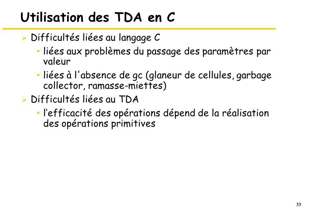 33 Utilisation des TDA en C Difficultés liées au langage C liées aux problèmes du passage des paramètres par valeur liées à l absence de gc (glaneur de cellules, garbage collector, ramasse-miettes) Difficultés liées au TDA lefficacité des opérations dépend de la réalisation des opérations primitives