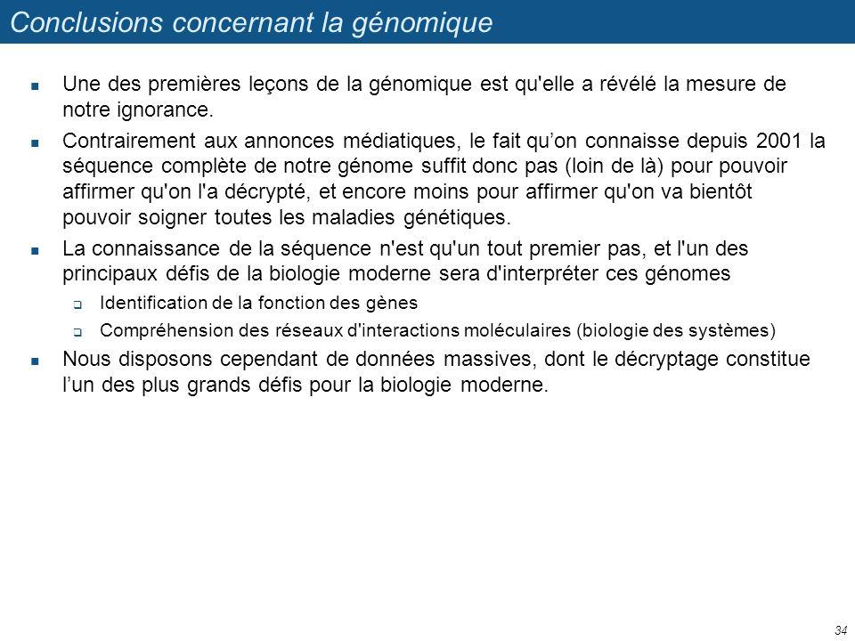 Conclusions concernant la génomique Une des premières leçons de la génomique est qu'elle a révélé la mesure de notre ignorance. Contrairement aux anno