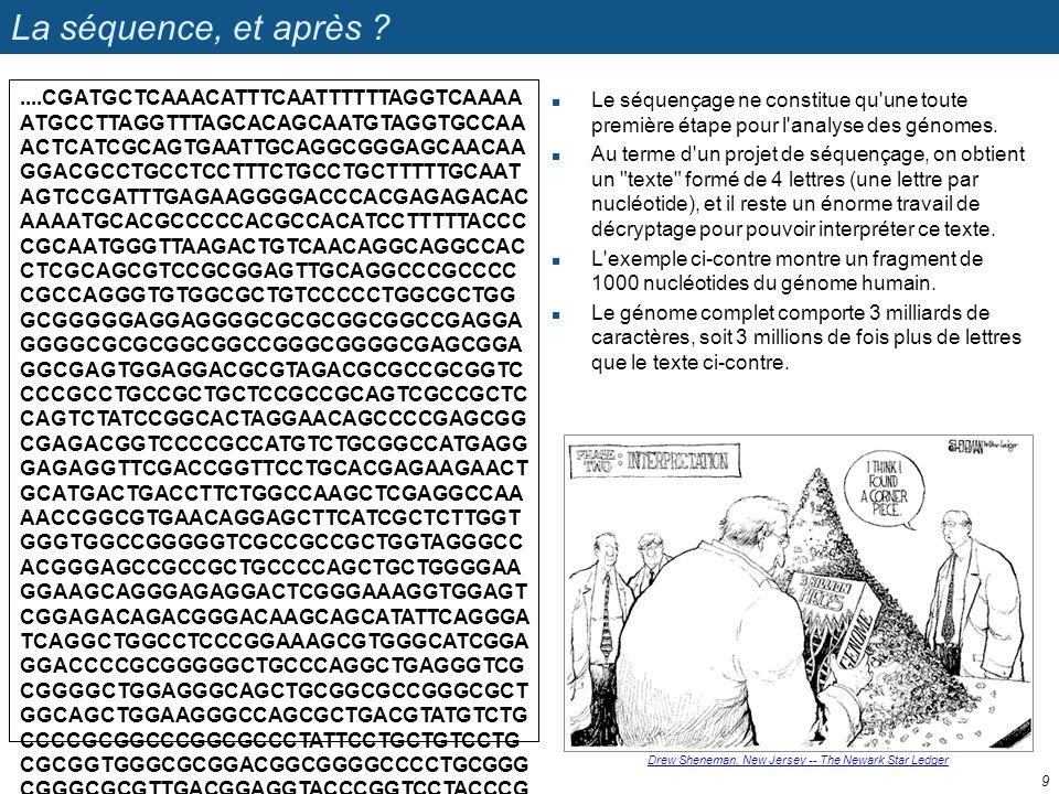 La séquence, et après ? Le séquençage ne constitue qu'une toute première étape pour l'analyse des génomes. Au terme d'un projet de séquençage, on obti