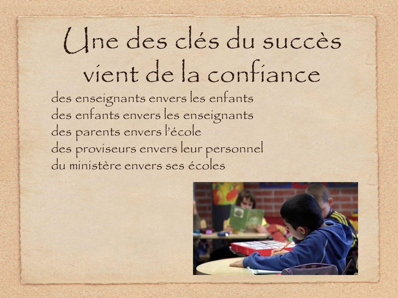 Une des clés du succès vient de la confiance des enseignants envers les enfants des enfants envers les enseignants des parents envers lécole des proviseurs envers leur personnel du ministère envers ses écoles