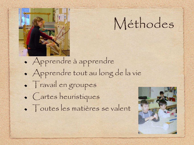 Méthodes Apprendre à apprendre Apprendre tout au long de la vie Travail en groupes Cartes heuristiques Toutes les matières se valent
