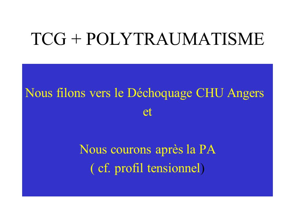 TCG + POLYTRAUMATISME Arrivée au Déchoquage CHU Angers 114/82, 87/mn, 100% Echographie 3P (Pelvis, Péritoine, Péricarde) et pulmonaire……..
